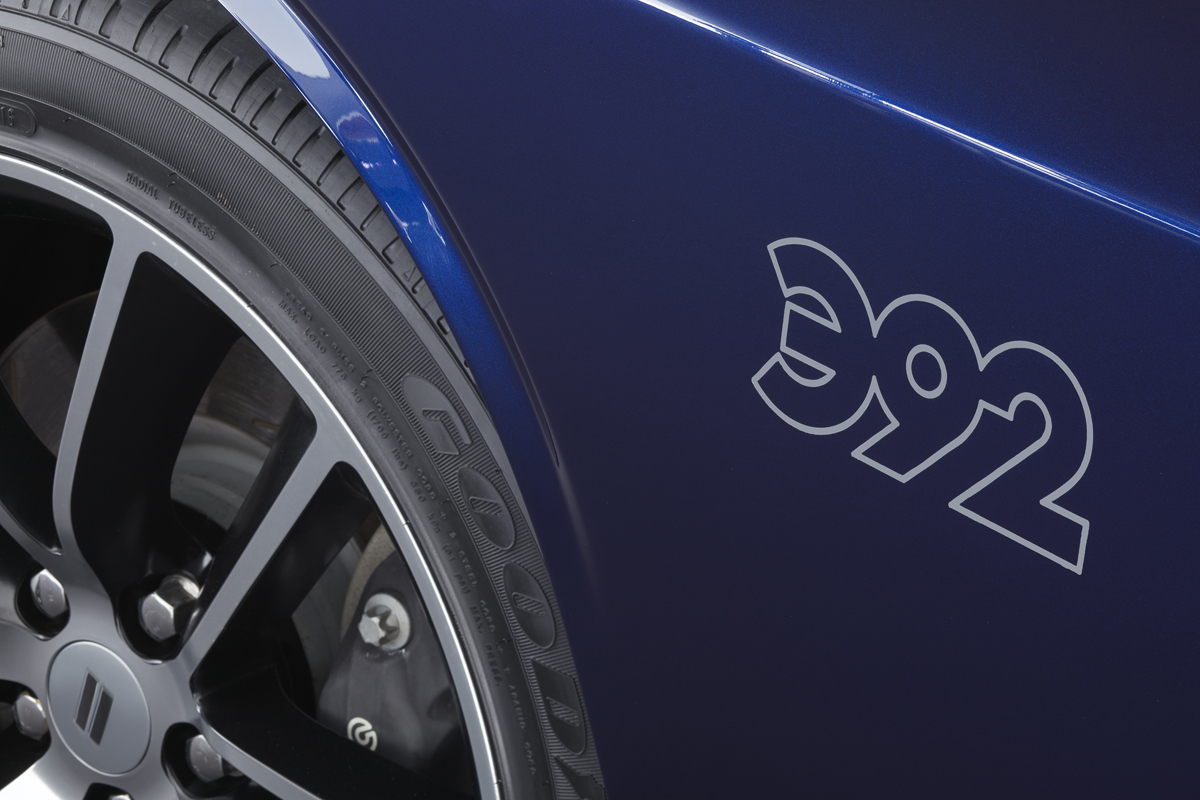 A special Mopar 392 logo is hand-painted on at the Mopar Custom