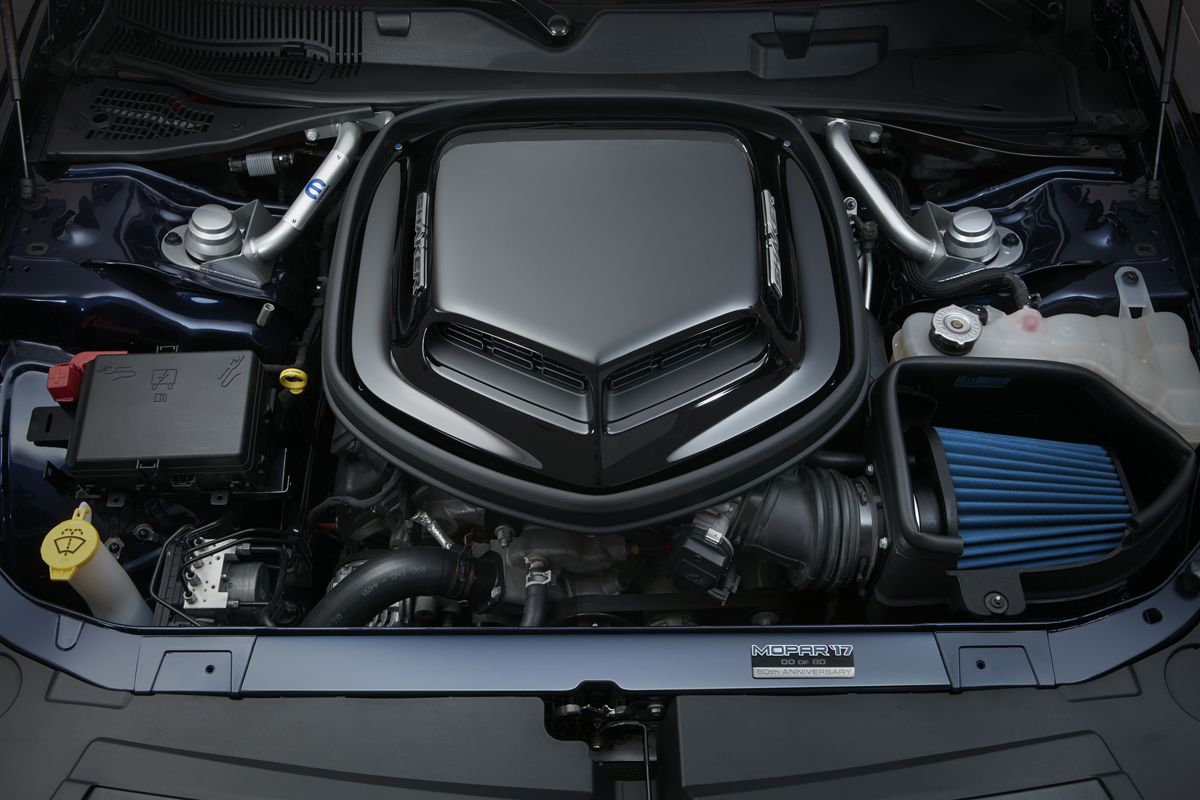 The Shaker Hood package by Mopar provides performance gains with