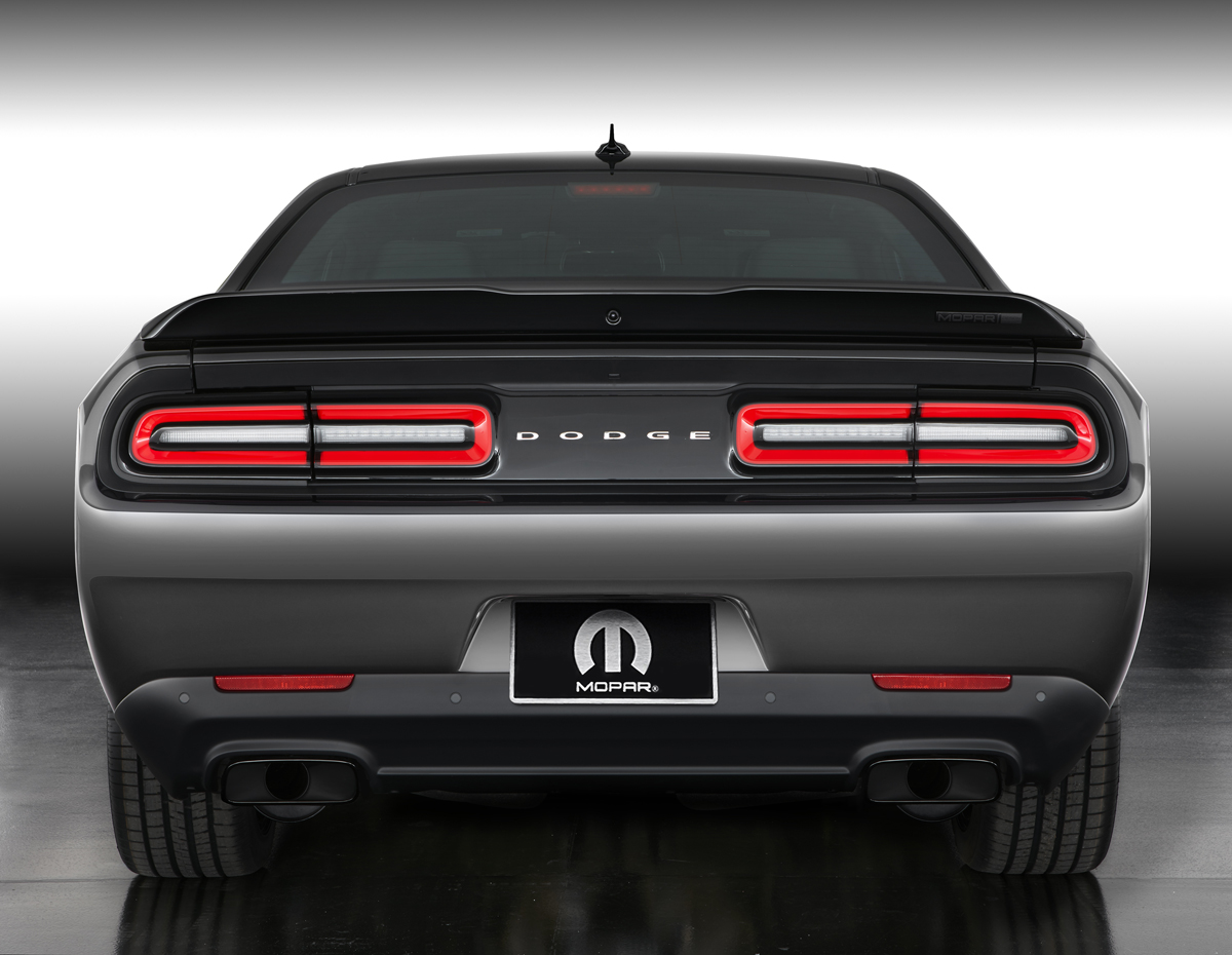 The rear decklid spoiler of the Mopar '17 Dodge Challenger rec